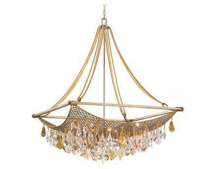Corbett Lighting Barcelona Eight-Light Silver and Gold Leaf Pendant