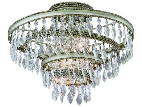 Corbett Lighting Diva Silver Leaf / Gold Leaf Three-Light 18'' Wide Semi-Flush Mount