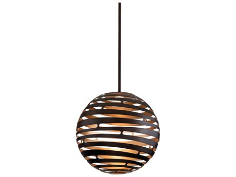 Corbett Lighting Tango Textured Bronze / Warm Silver Leaf 23'' Wide LED Pendant Light
