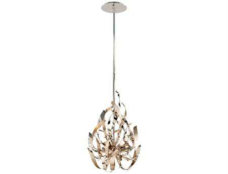 Corbett Lighting Graffiti Three-Light Silver Leaf Pendant