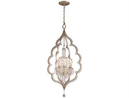 Corbett Lighting Bijoux Eight-Light Silver Leaf Pendant