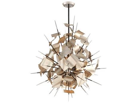 Corbett Lighting Poetry Tranquility Silver Leaf / Polished Chrome Nine-Light 37'' Wide Pendant Light