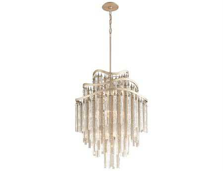 Corbett Lighting Chimera Ten-Light Tranquility Silver Leaf Pendant