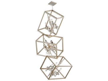 Corbett Lighting Houdini Silver Leaf / Gold Leaf and Polished Stainless Eight-Light 32'' Wide Chandelier