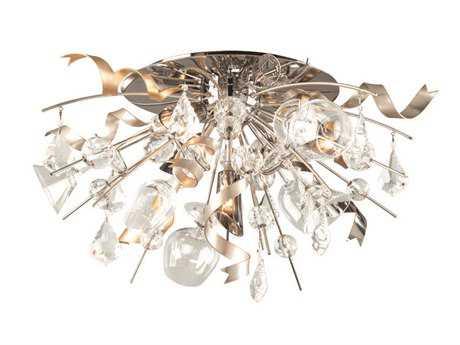 Corbett Lighting Party All Night Four-Light Modern Silver Semi-Flush Mount Light