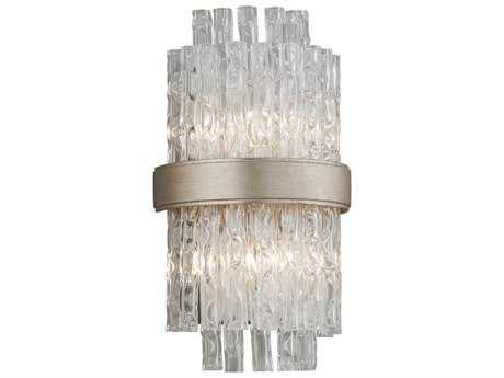 Corbett Lighting Chime Silver Leaf with Polished Stainless Accents Two-Light Wall Sconce
