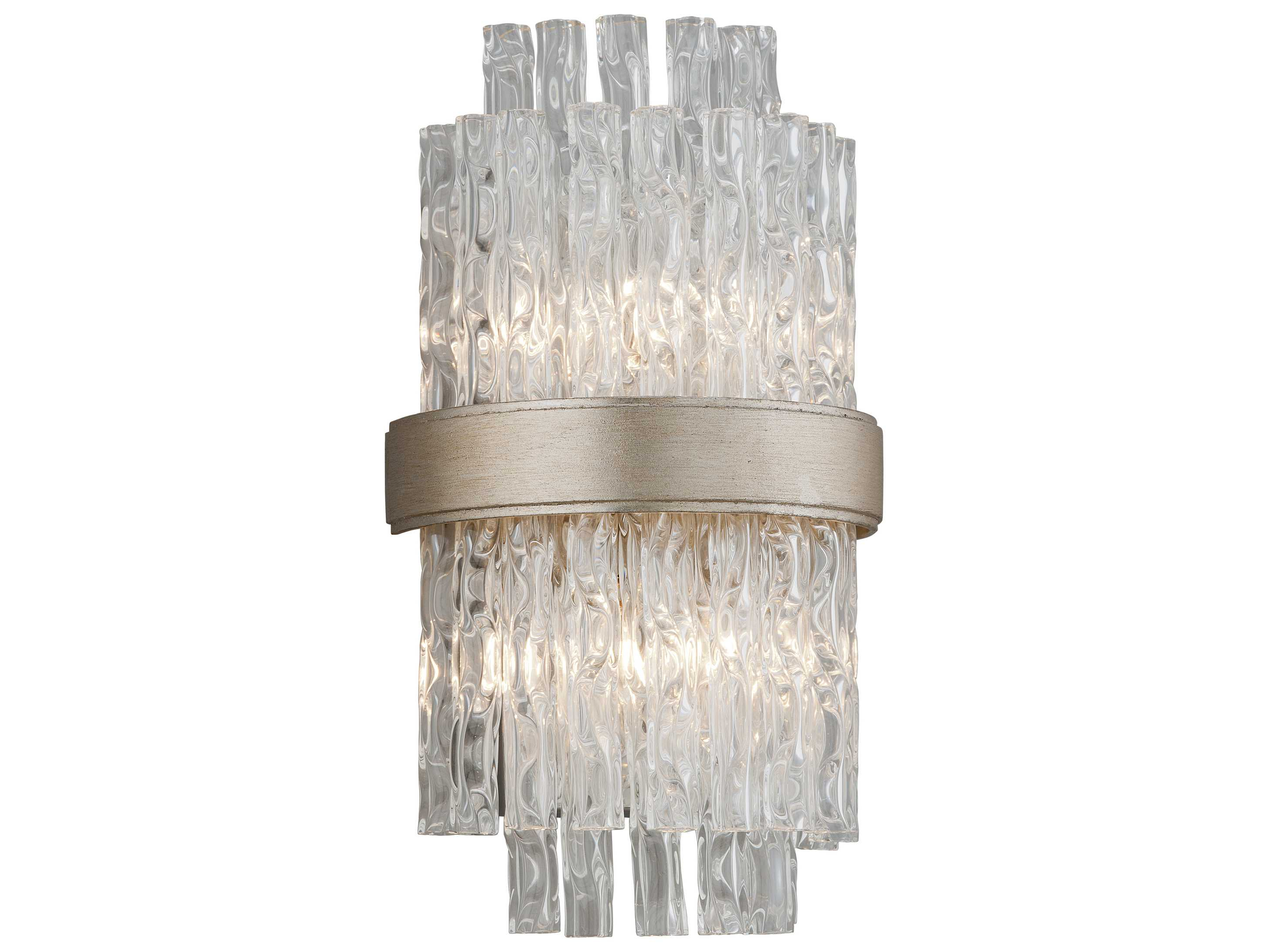 Corbett Lighting Chime Silver Leaf with Polished Stainless Accents Two-Light Wall Sconce CT20412