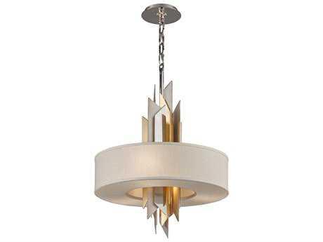 Corbett Lighting Modernist Silver And Gold Leaf 20'' Wide Pendant Light