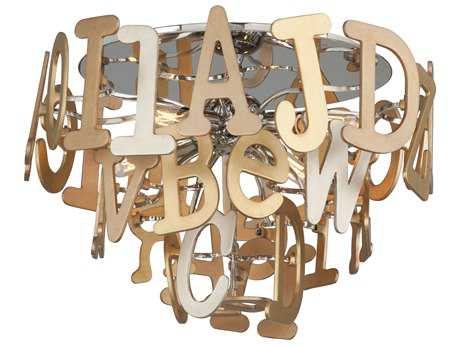 Corbett Lighting Media Polished Stainless and Multi-Leaf 18'' Wide Flush Mount Light