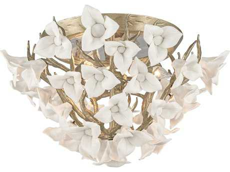 Corbett Lighting Lily Enchanted Silver Leaf 18.25'' Wide Flush Mount Light