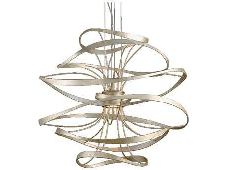 Corbett Lighting Calligraphy Silver Leaf with Polished Stainless Accents 42'' Wide LED Pendant Light