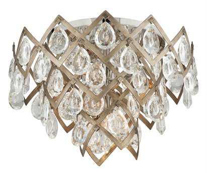 Corbett Lighting Tiara Vienna Bronze Three-Light 19.5'' Wide Semi-Flush Mount Light with Clear Crystal