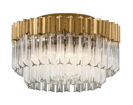 Corbett Lighting Charisma Gold Leaf & Polished Stainless Three-Light 18'' Wide Flush Mount Light with Clear Crystal