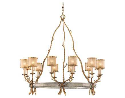 Corbett Lighting Parc Royale 12-Light 41'' Wide Gold and Silver Leaf Grand Chandelier