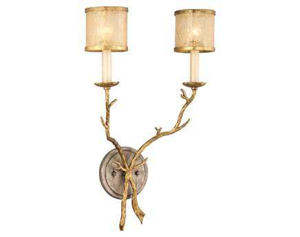 Corbett Lighting Parc Royale Two-Light Gold and Silver Leaf Wall Sconce