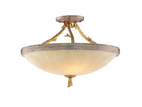 Corbett Lighting Parc Royale Three-Light Gold and Silver Leaf Semi-Flush Mount Light