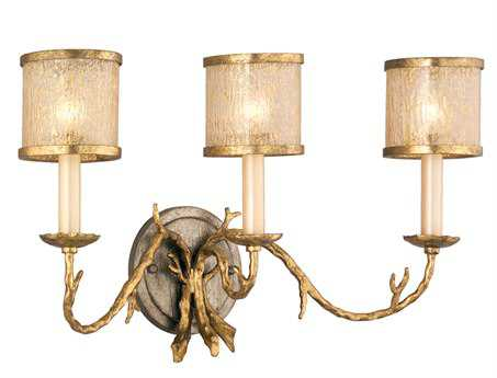 Corbett Lighting Parc Royale Three-Light Gold and Silver Leaf Bath Light