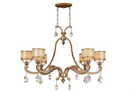 Corbett Lighting Roma Six-Light Antique Roman Silver Island Light