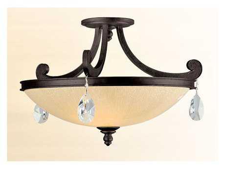 Corbett Lighting Roma Three-Light Classic Bronze Semi-Flush Mount Light