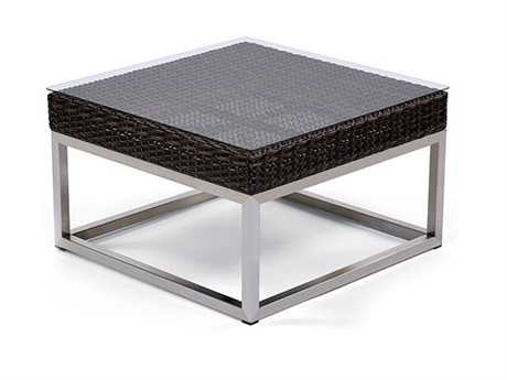 Caluco Mirabella Wicker 24 Square Glass End Table