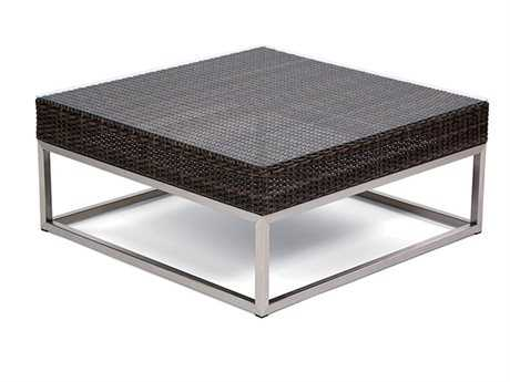 Caluco Mirabella Wicker 35 Square Glass Coffee Table
