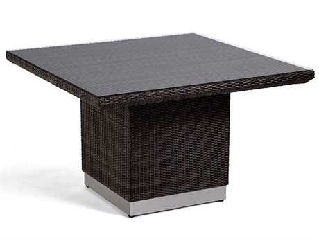 Caluco Mirabella Wicker 48'' Wide Square Dining Table with Glass Top