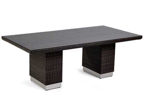 Caluco Mirabella Wicker 84''W x 42''D Rectangular Dining Table with Glass Top