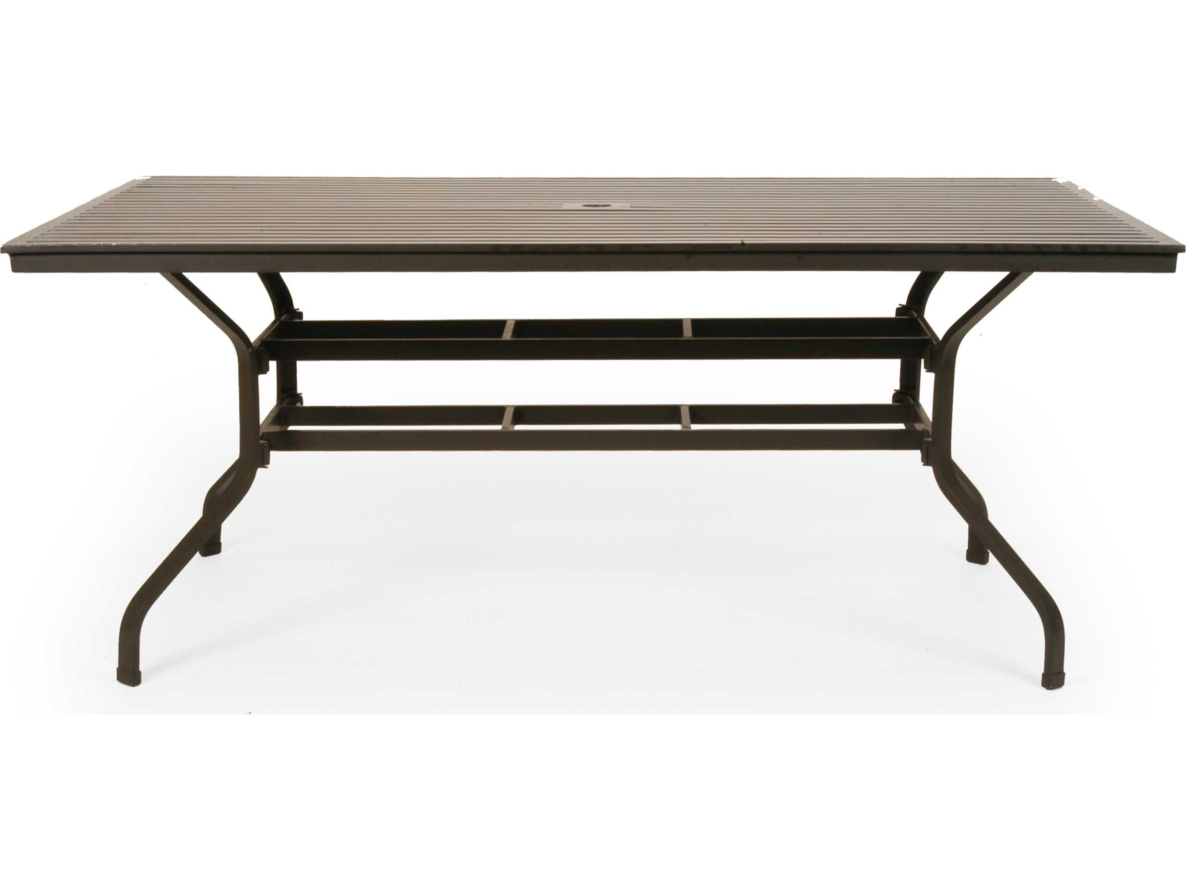 caluco san michele aluminum 96 39 39 w x 42 39 39 d rectangular dining table with umbrella hole 710c 96. Black Bedroom Furniture Sets. Home Design Ideas