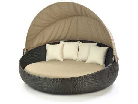Caluco Dijon Wicker Round Daybed with Canvas Fabric Canopy Style