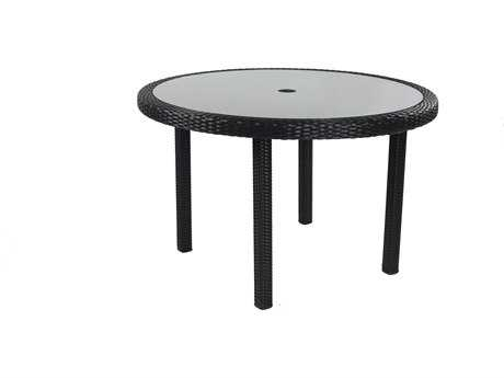 Caluco Dijon Wicker Majestick Black 48'' Wide Round Dining Table PatioLiving