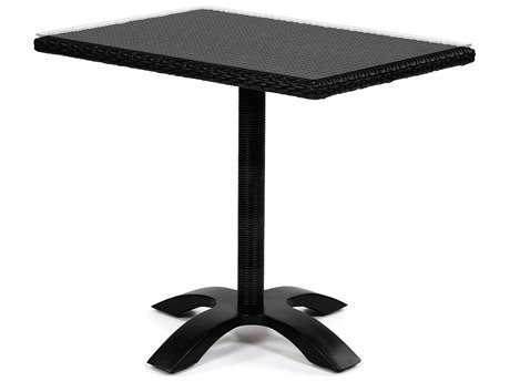 Caluco Dijon Wicker Majestic Black 36''Wide Square Bistro Table PatioLiving