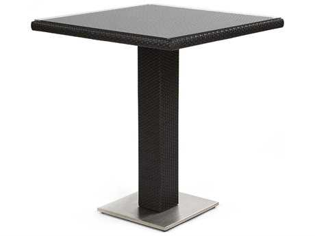 Caluco Dijon Wicker Majestic Black 32''Wide Square Bar Table PatioLiving