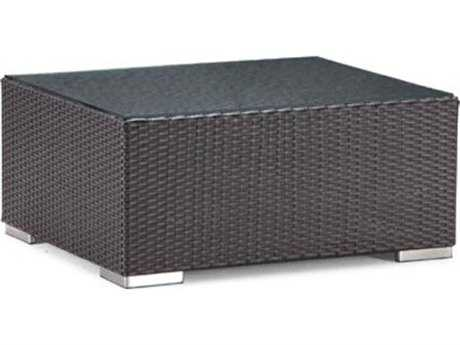 Caluco Dijon Wicker Majestic Black 35''W x 29''D Rectangular Coffee Table PatioLiving