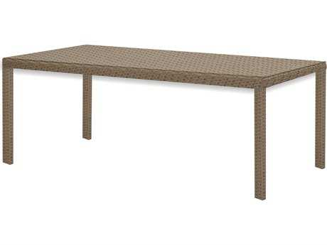 Caluco 10 Tierra Wicker Mocaccino 84''W x 42''D Rectangular Dining Table PatioLiving