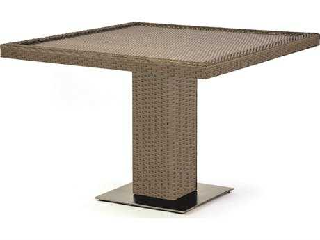 Caluco 10 Tierra Wicker Mocaccino 42''Wide Square Pedestal Dining Table PatioLiving