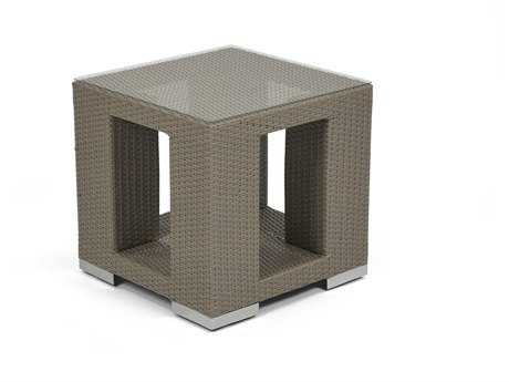 Caluco 10 Tierra Wicker Mocaccino 21''Wide Square End Table PatioLiving