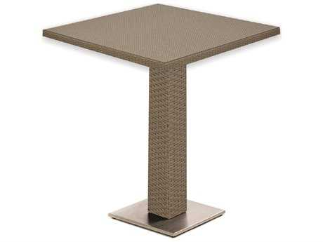 Caluco 10 Tierra Wicker Mocaccino 32''Wide Square Pedestal Bar Table