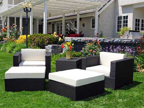 Caluco Dijon Wicker Majestic Black Lounge Set