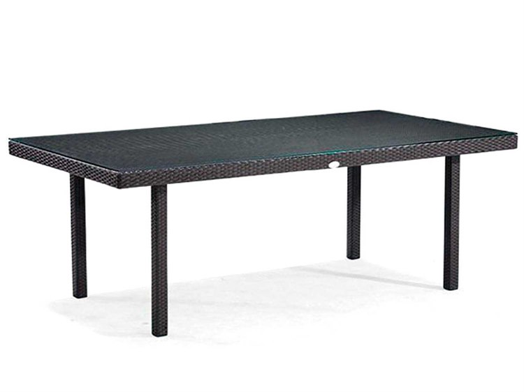Caluco Dijon Majestic Black Wicker 84u0027u0027W X 42u0027u0027D Rectangular Dining Table |  DJ.825B 84