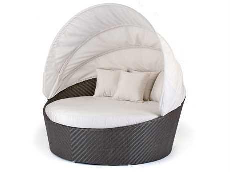 Caluco Dijon Wicker Round Daybed with Sunbrella 5404 Canopy