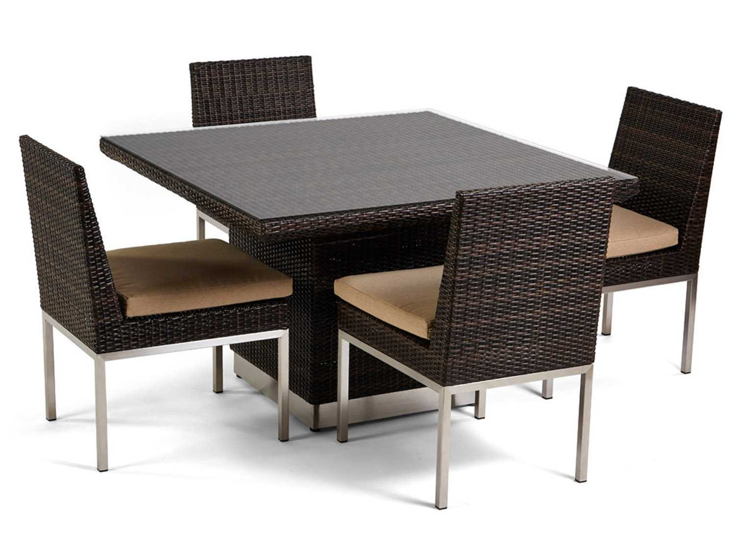 caluco mirabella wicker 48 39 39 wide square dining table with glass top 606 4848. Black Bedroom Furniture Sets. Home Design Ideas