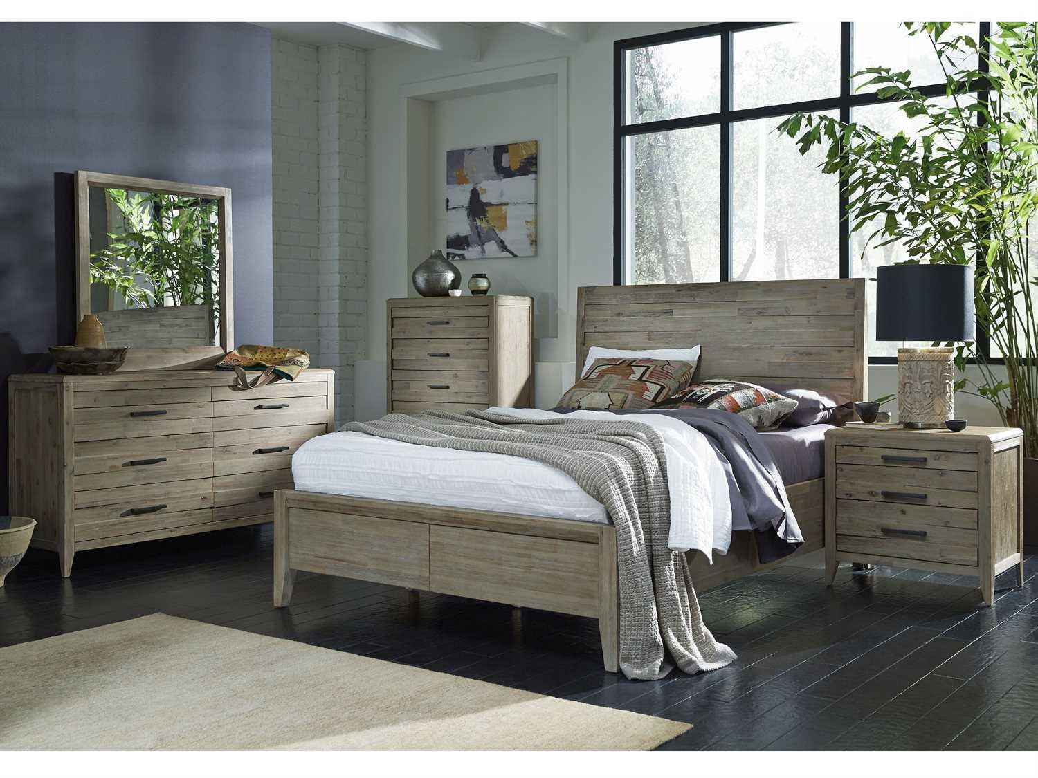 Casana Harbourside Weathered Acacia Six Drawer Dresser Mirror Set With Concealed Top Drawers
