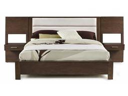 Casana Hudson Queen Upholstered Platform Bed with Panel Nightstands