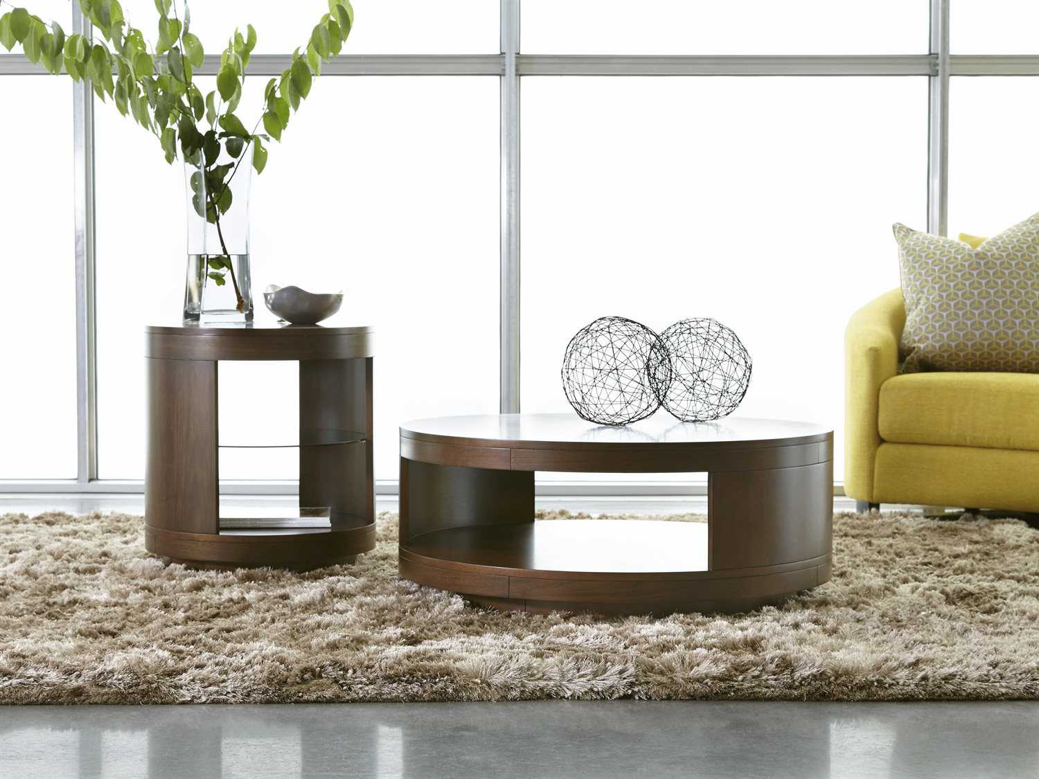 Casana Tessa Clear Medium Walnut 40 Round Coffee Table