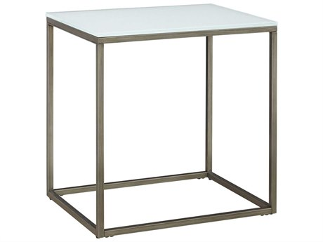 Casana Alana Frosted Glass & Natural Steel 24'' x 18'' Rectangular End Table