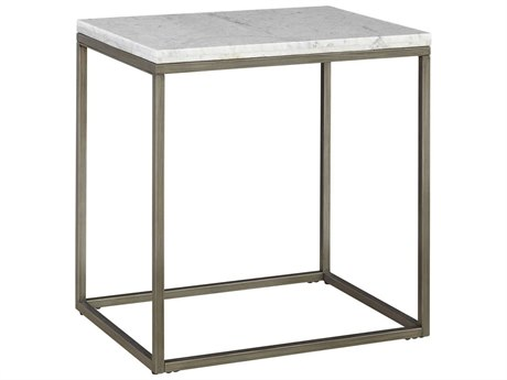 Casana Alana White Marble & Natural Steel 24'' x 18'' Rectangular End Table