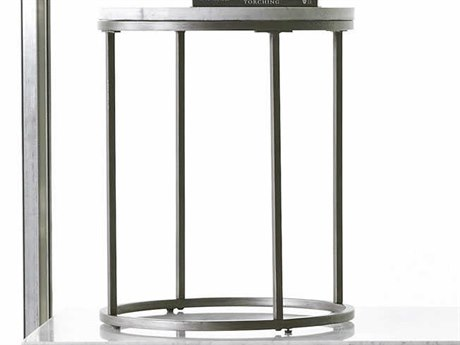 Casana Alana Natural / White 20'' Round End Table with White Marble Top