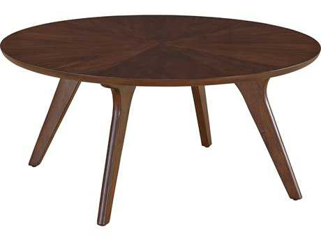 Casana Hensen Clear & Mid-Toned Walnut 36'' Round Coffee Table