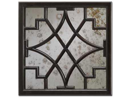 Currey & Company Nador 24'' Round Dark Mahogany Wall Mirror