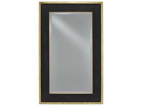 Currey & Company Loren 36'' x 58'' Large Polished Brass and Caviar Black Wall Mirror